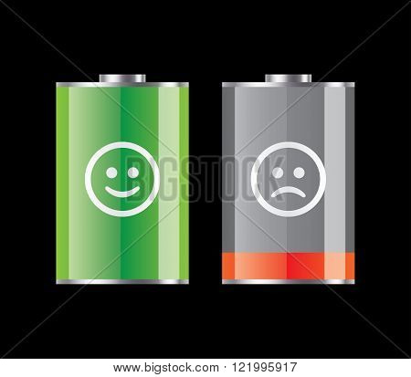 Set of charged and discharged battery icons, with emoticons.