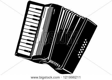 black and white vector sketch of a musical instrument accordion