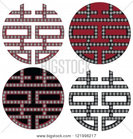 Traditional Oriental Korean symmetrical double happiness zen symbols in black, white and red with diamonds element fashion and tattoo elements