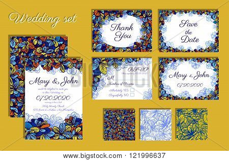 Wedding invitation thank you card save the date cards. Wedding set. RSVP card. Template with blue flowers. Vector Illustration.