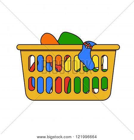 Thin line icon of laundry basket with dirty clothes