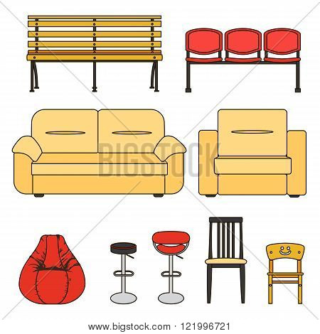 Colorful set of seats. Icon set of modern furniture chair and sofa . Vector. Illustration