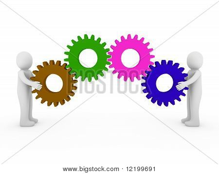 3D Human Gear Green Brau Pink Brown