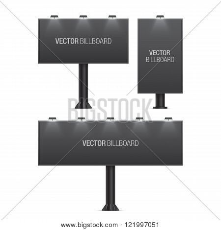 Vector billboard. Set of realistic vector billboards in different sizes. Black billboard.