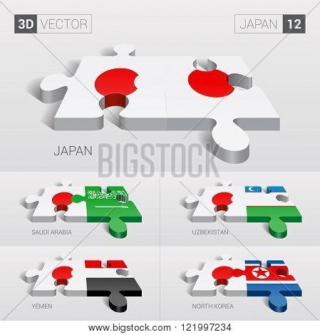 Japan and Japan, Saudi Arabia, Uzbekistan, Yemen, North Korea Flag. 3d vector puzzle. Set 12.