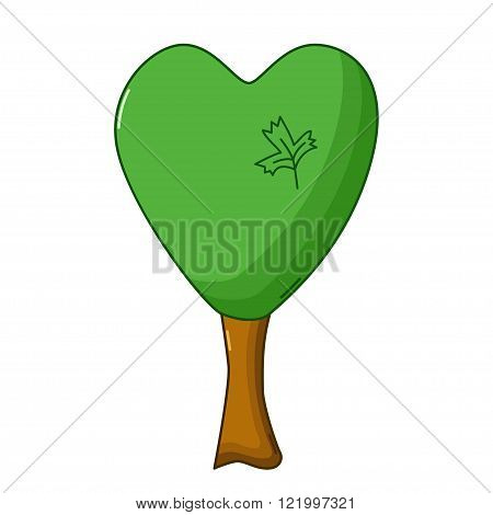 Heart Tree Icon, Cartoon Style