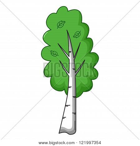 Birch Tree Icon, Cartoon Style