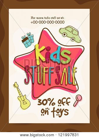 Kids Stuff Sale Banner, Sale Poster, Sale Flyer, Sale Vector. 30% Off on toys, Vector illustration.