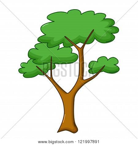 Savanna Tree Icon, Cartoon Style
