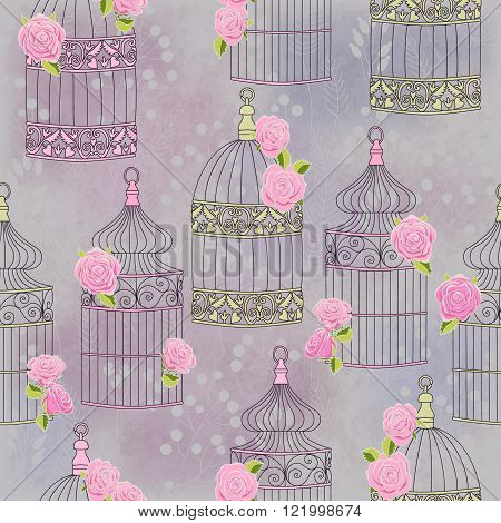 Vector seamless pattern with birdcages and roses. Vintage romantic illustration. Perfect for invitations, manufacture wrapping paper, textile, wedding and web design.