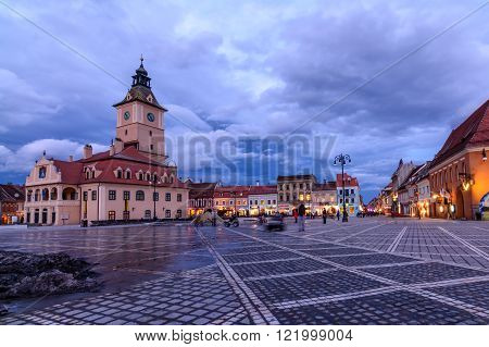 Brasov, Romania - February 23: The Council Square On February 23, 2016 In Brasov, Romania. Panoramic