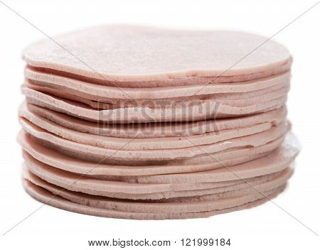 Mortadella Slices (isolated On White)