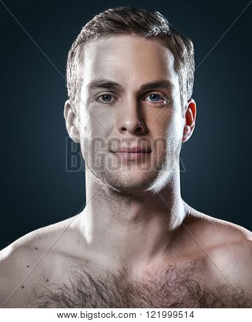 Comparative photo of handsome young man. Clean shaven and light unshaven man with naked torso looking at camera