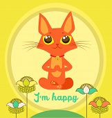 Meditating Cat Vector. Yoga Cat Vector. Cute Red Cat And Message IM Happy. Vector For Poster. poster