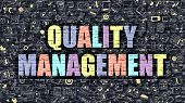 Quality Management Concept. Multicolor on Dark Brickwall. poster