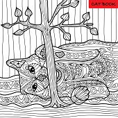 Naughty Cat - Coloring Book For Adults, Zentangle Patterns poster