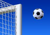 stock photo of game-cock  - football entering the net scoring a goal - JPG