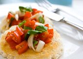 image of italian food  - toasted bread with sweet plum tomato salad with onions and basil with drizzling of olive oil serve on white plate - JPG