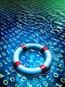 picture of encoding  - Lifesaver floating in a binary data sea - JPG