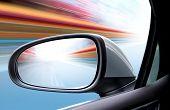Постер, плакат: скорость вождение автомобиля на высокой скорости по пустой дороге motion blur