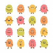 Постер, плакат: Set Of Cartoon Funny Smiley Monsters Collection Of Different Cute Fluffy Monsters Characters