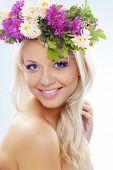 image of youg  - Beautiful youg girl wearing floral wreath closeup - JPG