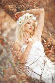 image of beautiful young woman  - Portrait of beautiful autumn nymph - JPG