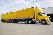 image of b-double  - yellow b double truck with box containers for load - JPG