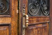 stock photo of open door  - this is an open door in old style - JPG