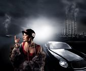stock photo of luxury cars  - portrait of a woman with fur - JPG