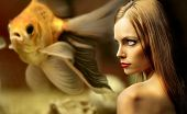 picture of underworld  - portrait of beautiful girl against an underworld view - JPG