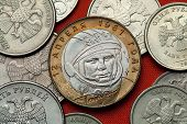 Постер, плакат: Coins of Russia First Soviet cosmonaut Yuri Gagarin depicted in the Russian commemorative 10 ruble