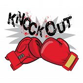 Постер, плакат: Boxing Gloves And Text Knock Out Boxing Emblem Label Badge T Shirt Design