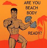 Fitness Boy. Beach Body Ready Design poster