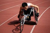 KUALA LUMPUR - AUGUST 16: Singapore's wheel-chair athlete competes at the track and field event of t