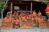 BALI - JANUARY 15: Musicians in the Gamelan troupe play traditional Balinese music to accompany danc