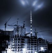 image of construction crane  - night house - JPG