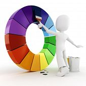 stock photo of color wheel  - 3d man painting a color wheel - JPG