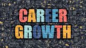 Career Growth in Multicolor. Doodle Design. poster