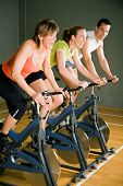 stock photo of fitness man body  - Three People Cycling In A Gym Or Fitness Club - JPG