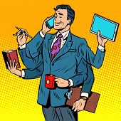 Business successful businessman multitasking poster