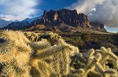 picture of superstition mountains  - the superstition mountains outside phoenix arizona create a winter storm backdrop for the harsh desert cactus below - JPG