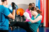 foto of sparring  - Woman Kick boxer kicking her trainer in a sparring session - JPG