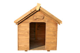 image of dog-house  - a wooden dog house with a wooden bone above the door - JPG