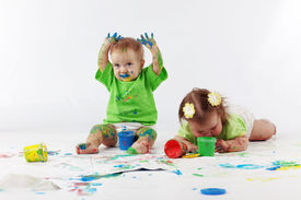 stock photo of children group  - Two babies painting - JPG