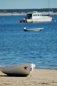 image of cape-cod  - boat at rest on a cape cod beach - JPG
