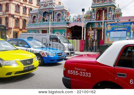 Taxis in a traffic jam, Singapore