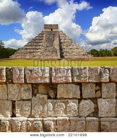 Chichen Itza Tzompantli the Wall of Skulls and Kukulkan pyramid El Castillo