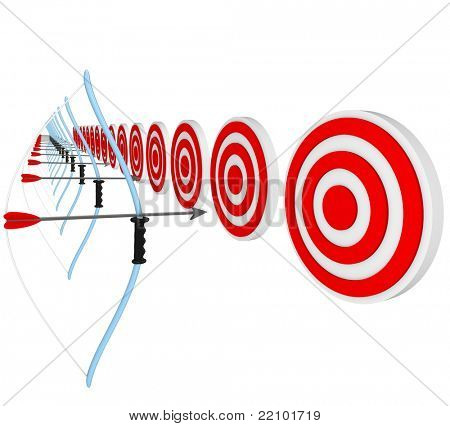 Many bows and arrows lined up and aiming at target bulls-eyes, representing a competition of several athletes or business people competing for a job or sale