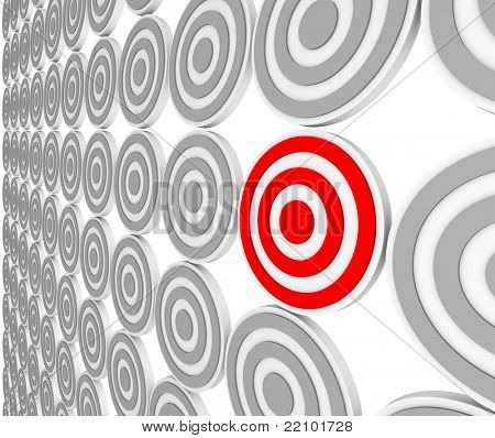 Many bulls-eye targets in rows and one in red representing a niche market in a crowded marketplace of demographics and customers.  Pinpoint the right audience for your marketing message.